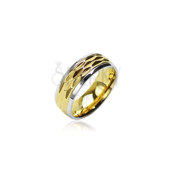Prstan iz nerjavečega jekla - valovit vzorec zlate barve