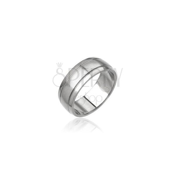Moški prstan iz jekla - mat srednji del