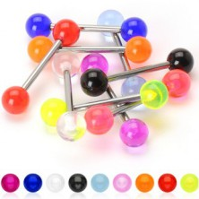 Piercing za jezik iz titana - UV-kroglice