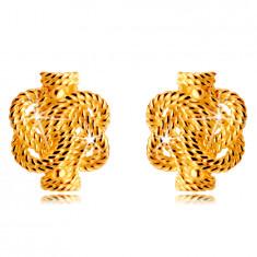 14K zlati uhani - prepletene linije z vzorcem vrvi, čepki