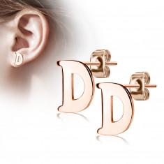 Uhani iz jekla bakrene barve – črka »D«, čepki