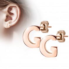 Uhani iz jekla bakrene barve – črka »G«, čepki
