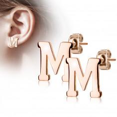 Uhani iz jekla bakrene barve – črka »M«, čepki