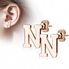 Uhani iz jekla bakrene barve – črka »N«, čepki