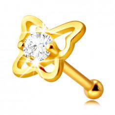 Piercing za nos iz 14-karatnega zlata - kontura metulja, z okroglim prozornim cirkonom, 2 mm