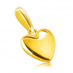 Obesek iz 585 rumenega zlata - gladko srce, zrcalno sijoča površina, ovalna zaponka