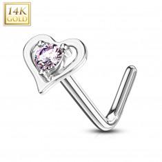 Ukrivljen piercing za nos iz 14-karatnega belega zlata - kontura v obliki srca, z roza cirkonom