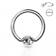 316L jeklen piercing za obrvi - obroček s prozornim kristalom v okrogli objemki, 1 mm, premer 6 mm