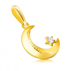 14K zlati obesek - luna z ostrimi robovi, okrasne zareze, majhen okrogel cirkon