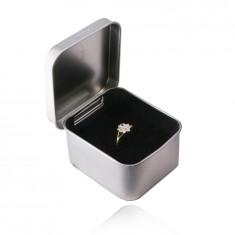 Kovinska, darilna škatlica za nakit - srebrna barva, satenasta površina