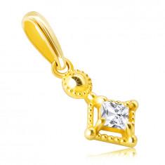 Obesek iz 14K zlata – droben, lesketajoč kvadrat, cirkon v okrasnem okvirju