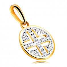 Zlat obesek iz 585 rumenega zlata – krog okrašen z okroglimi cirkoni, črna prevleka