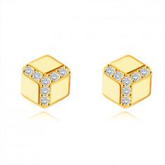 585 Zlati uhani - šestkotnik z gladko površino, okrogli prozorni cirkoni, čepki