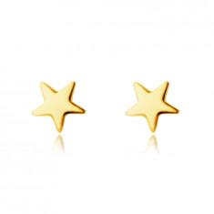 Uhani iz 14K rumenega zlata - peterokraka zvezda, gladka svetleča površina, čepki