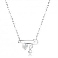 Srebrna ogrlica - varnostna sponka z obeski v obliki srca in simbola neskončnosti, prozorni cirkoni