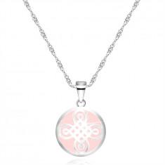925 Srebrna ogrlica - obesek v obliki kroga, keltski motiv, roza podlaga