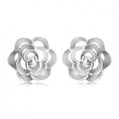 925 Srebrni uhani - izrezana vrtnica s cvetnimi lističi, čepki