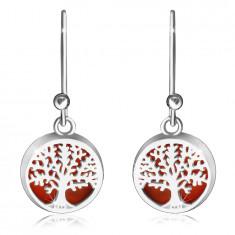 Viseči 925 srebrni uhani - gladek krog, drevo življenja na rdeči podlagi