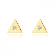 14K zlati uhani - majhen trikotnik s prozornim cirkonom v sredini, čepki