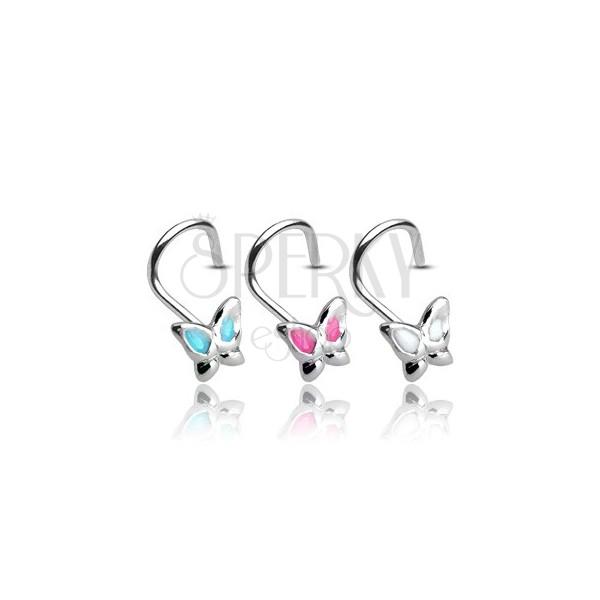 Piercing za nos iz srebra 925 - metulj z glaziranimi krili