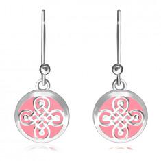 Viseči uhani iz srebra 925 - gladek krog, keltski vzorec na roza podlagi