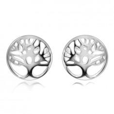 925 Srebrni uhani - drevo življenja v krogu z izrezano, sijočo površino