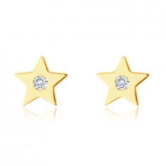 Uhani iz 14K rumenega zlata - peterokraka zvezda s cirkonom, gladka svetleča površina