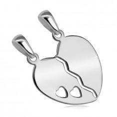 925 srebrni dvojni obesek - razcepljeno srce z izrezom dveh srčkov