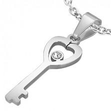 Obesek v obliki srčastega ključa iz nerjavečega jekla