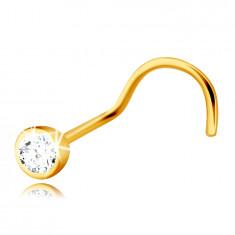 14K rumeno zlato, diamantni piercing, ukrivljen - briljant v okroglem okvirju, 2 mm