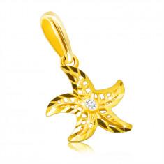 14K diamantni obesek iz rumenega zlata - motiv morske zvezde, okrogel, prozoren briljant