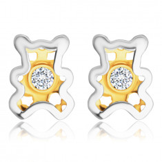 Kombinirani 585 zlati uhani iz diamanta - medvedek s prozornim briljantom