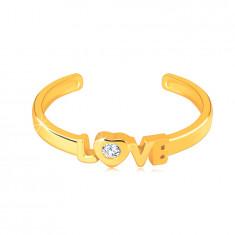 """Diamantni prstan iz 14 K rumenega zlata z odprtimi kraki – napis """"LOVE"""", briljant"""