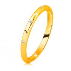 Briljantni obroček iz 14K rumenega zlata - okrogli prozorni diamanti, gladka površina