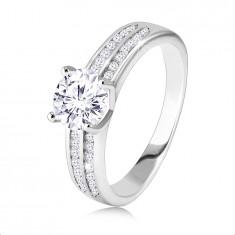 925 srebrni prstan, zaročni - dva cirkonska trakova, okroglo brušen cirkon v sredini