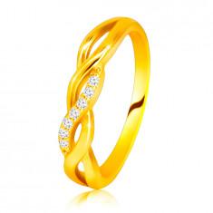 Sijoč prstan iz 14K rumenega zlata - prepleteni valovi, linija briljantov