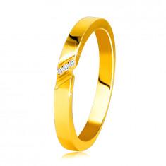 14K diamantni obroček iz rumenega zlata - prstan s fino zarezo, prozorni briljanti