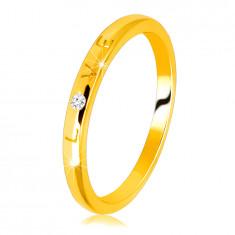 """14K diamantni obroček iz rumenega zlata - napis """"LOVE"""" z briljantom, gladka površina, 1,5 mm"""