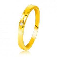585 Diamantni prstan iz rumenega zlata - rahlo poševna kraka, prozoren briljant
