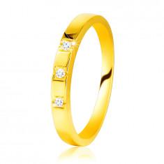 585 Diamantni prstan iz rumenega zlata - bleščeča kraka, trije, bleščeči briljanti
