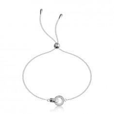 925 srebrna zapestnica - krog s cirkoni, člen s sijočo površino s cirkoni