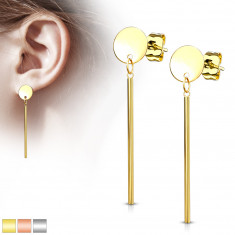 Jekleni uhani - ploščat krog in viseča palica, čepki
