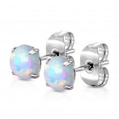 Jekleni uhani - okrogel, modri, sintetični opal, čepki