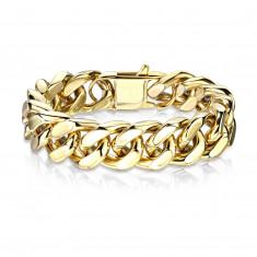 Masivna jeklena zapestnica v zlati barvi - široka, ploščata veriga, različnih dolžin