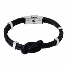 usnjena zapestnica - vozel dveh pletenic, kovinske zaponke, zaponka kot pri uri