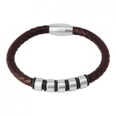 Temno modra usnjena zapestnica - pletena vrvica s kovinskimi valji in gumijastimi trakovi, magnetna zaponka