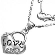 Ogrlica - mošnjasta, napis 'Love' s cirkonom