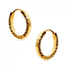 Uhani iz 585 rumenega zlata - obročki so okrašeni z vzorcem diamanta, oglati kraki, 12 mm