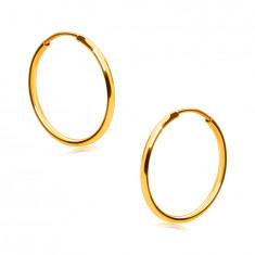 Zlati okrogli uhani 14K zlato - tanki, zaobljeni kraki, gladka in sijoča površina, 15 mm