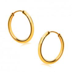 Okrogli uhani iz 14K zlata, zaobljeni kraki, gladka in sijoča površina, 14 mm